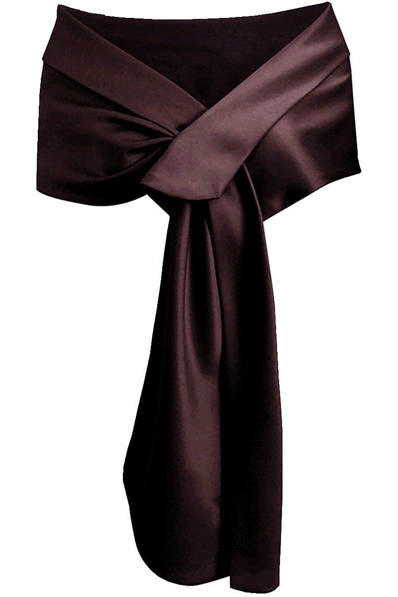 Meet Edge Women's Satin Shawl Wrap for Evening/Wedding Party Brown by Meet Edge