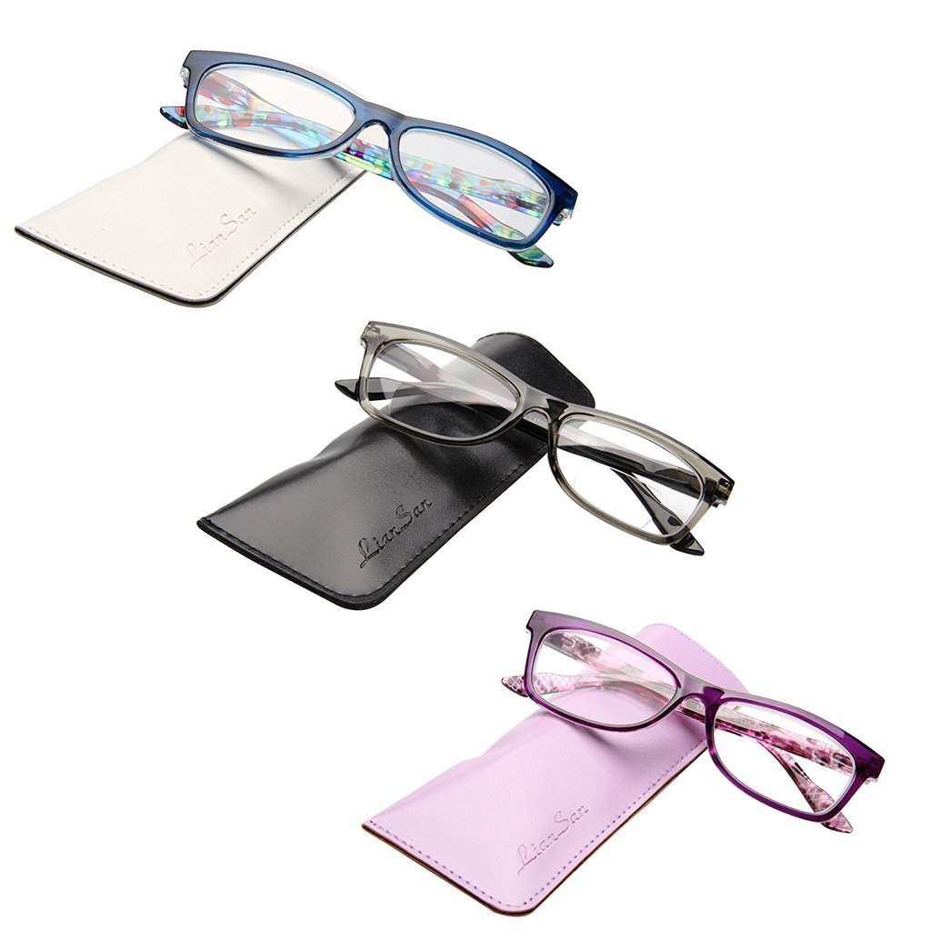 5b21001291ae Amazon.com  LianSan Desinger 3 Pack Stylish Ladies Reader Spring Hinges Reading  Glasses for Women L3706X Purple Grey Blue +1.75 Magnification  Health ...
