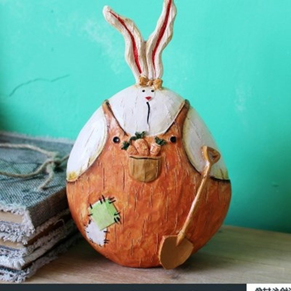Bwlzsp Animal resin living room garden shop home decoration painted country rabbit lovely adornment LU707207 (Color : Orange 1pcs)
