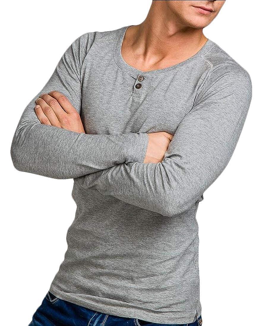 Mens Long Sleeve Henley T Shirt Button Slim Fit Tops Blouse