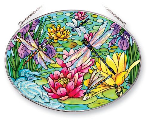 Amia Suncatcher Featuring a Dragonfly Design, Hand Painted Glass, 9-Inch by 6-1/2-Inch Oval