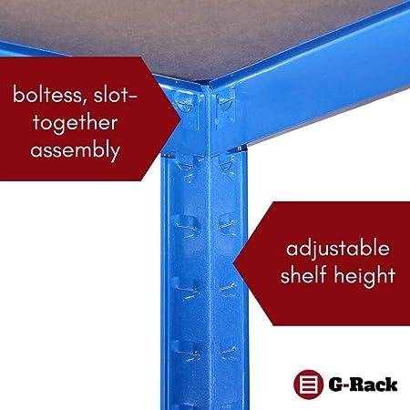 Estantería para Garaje de 180 cm x 120 cm x 60 cm – 2 bahías Extra Profundas, Azul 5 Niveles (175 kg por Estante), 875 kg de Capacidad para Taller, cobertizo, Oficina: Amazon.es: Bricolaje y herramientas