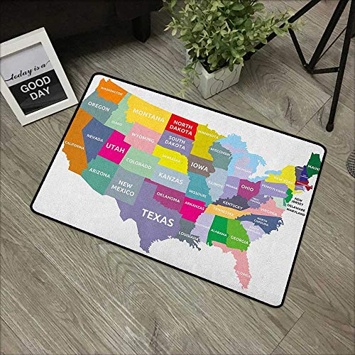Square Door mat W31 x L47 INCH Map,USA Map with Name of States in America Geography Cartography Theme, Multicolor Our Bottom is Non-Slip and Will not let The Baby Slip,Door Mat Carpet