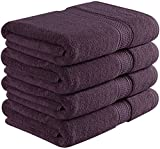 Utopia Towels 700 GSM Premium Plum Bath Towel Set - Pack of 4 - (27 x 54 Inches Each) - 100% Ring-Spun Cotton Towels for Home, Hotel and Spa – Plum Towels Set with Maximum Softness and High Absorbency