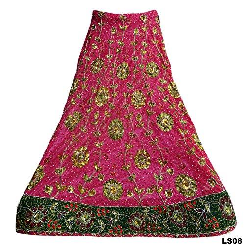 Wedding New Bridal Heavy Hand Beaded Lehenga Set Georgette Fabric Ethnic Pink (Beaded Georgette Skirt Set)