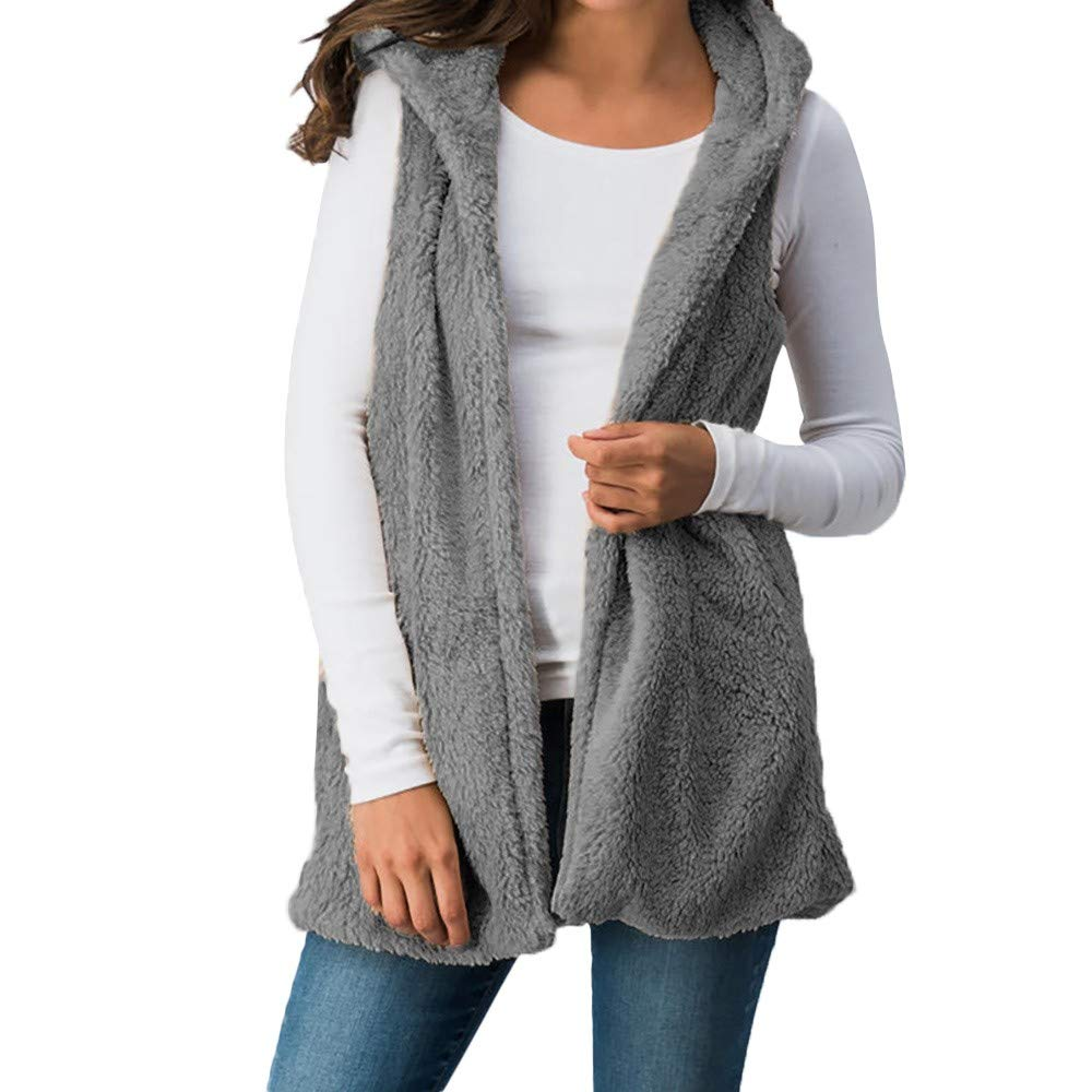 Women Lady Faux Fur Top Solid Cami Hooded Outwear Sleeveless Vest Pockets Warm Crop for Waistcoat Gray
