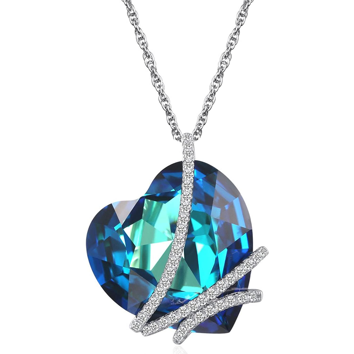 Amazon caperci heart of the ocean sterling silver heart amazon caperci heart of the ocean sterling silver heart pendant necklace made with swarovski crystal blue jewelry aloadofball Image collections
