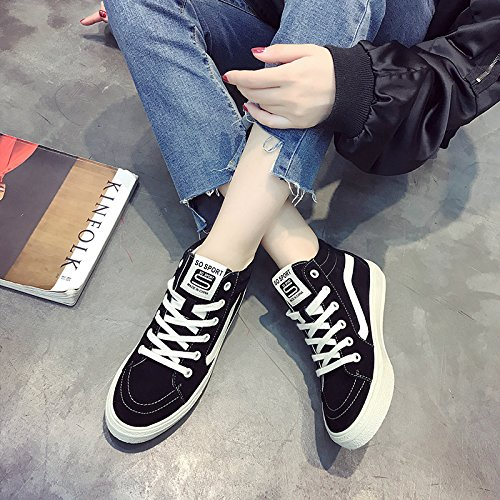 HGTYU-Faux Leather High Help Shoes Women Flat Bottomed Leisure Tether Plate Shoes Autumn And Winter New Breathable Sports Shoes Black jZA3Q2Aojw