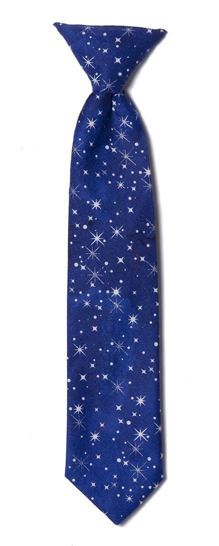 Blue with White Stars Clip-on Neck Tie Holiday Design for Baby to Boys (Boys)