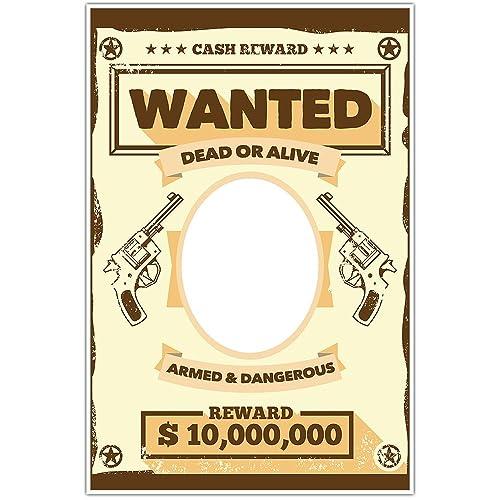 Amazon.com: Wanted Cash Reward Cowboy Wild West Selfie Frame Photo ...