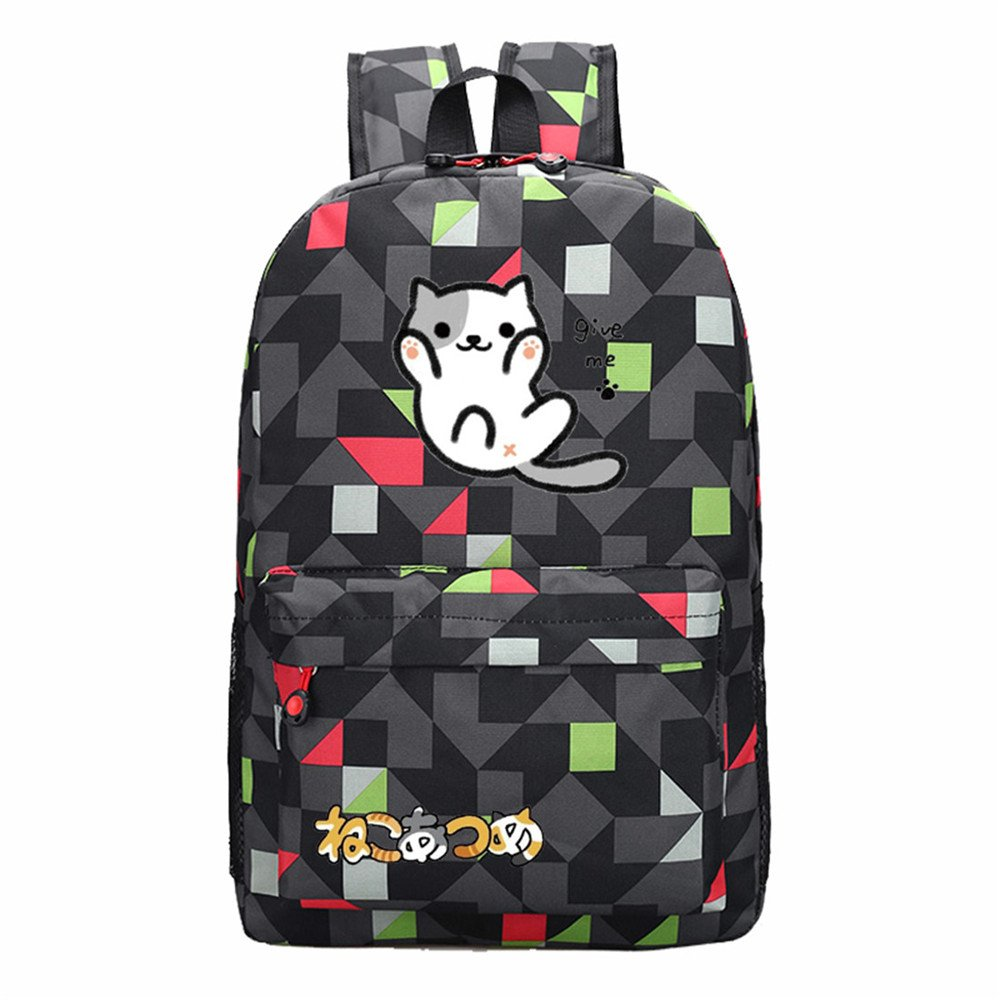 Siawasey Neko Atsumeアニメ猫裏庭コスプレブックバッグDaypack Collegeバックパックスクールバッグ   B0721Q6DKS
