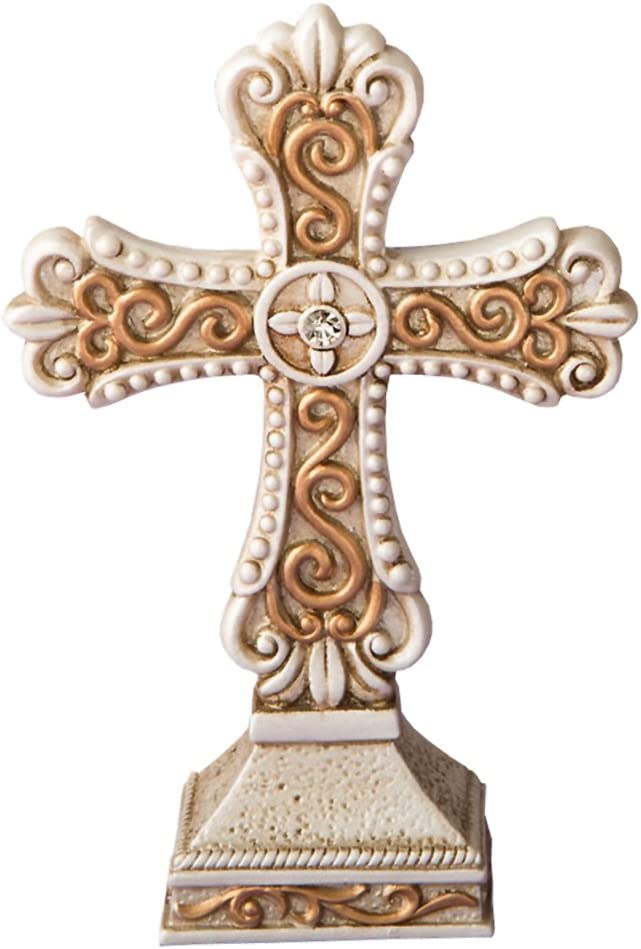 Baptism Christening Glowing Ivory color standing cross statue with Led Light