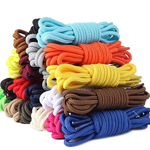 (12 Pairs Round Boot Laces Durable Shoelaces for Boots, Work Boots & Hiking Shoes (Random Assorted Colors))