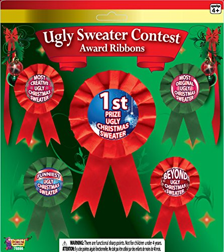 Forum Novelties FBA_75595 Ugly Christmas Sweater Award Ribbons, Multicolor]()