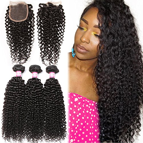 B&P Hair Brazilian Virgin Curly Hair Weft 3 Bundles with 1pc Lace Closure Free Part 4x4 100% Unprocessed Human Hair Extensions Natural Color 20 22 24+18inch closure by BP