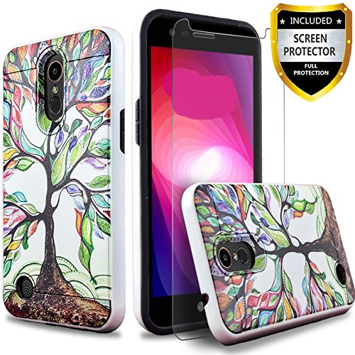 LG Aristo Case, LG Phoenix 3 Case, LG Fortune Case, LG Rebel 3 Phone Case, LG Risio 2 Case, LG K8 2017 Case, Dual Layers Hybrid Shockproof W/[HD Screen Protector] And CircleMalls Stylus (Lucky Tree)