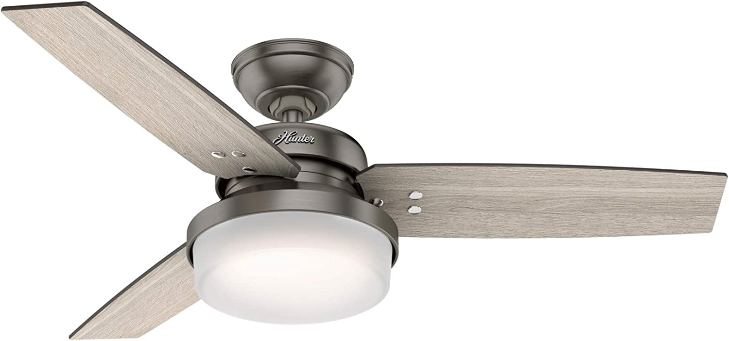 """Hunter Fan Company 50393 Sentinel Indoor Ceiling Fan with LED Light and Remote Control, 44"""", Slate"""