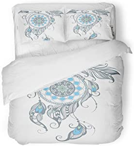 rouihot Duvet Cover Set Twin Size American of Dream Catcher Ancient Apache Arrow Barbarian Beautiful 3 Piece Microfiber Fabric Decor Bedding Sets for Bedroom