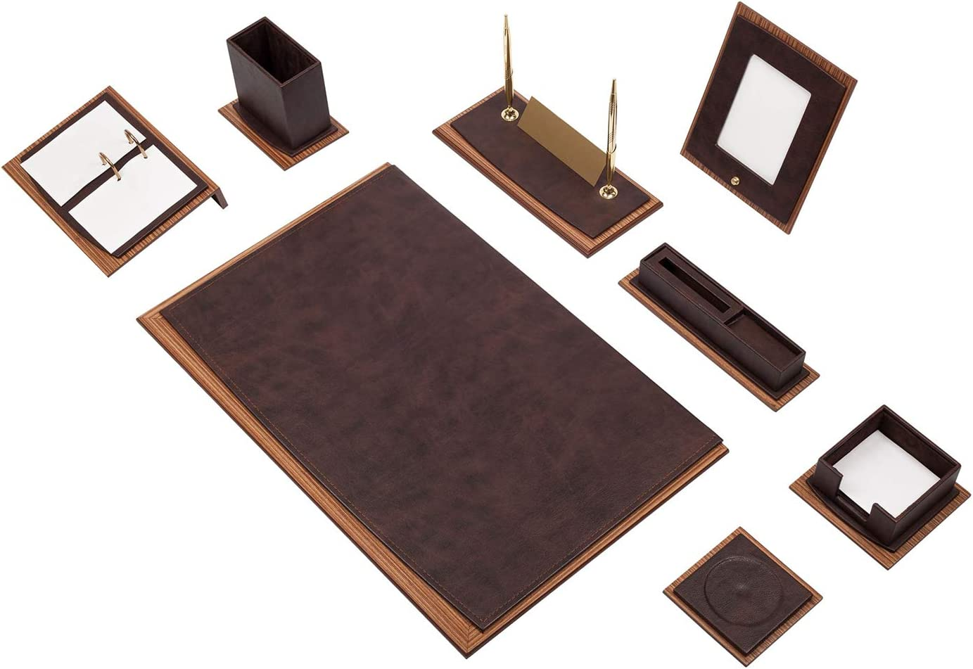 Nurdanil Zenia 12 tlg B/üro Schreibtisch Set Leder und Tisch Namensschild aus Metall mit Doppelschichtiges A4-Dokumentenregal Farbe Wei/ß