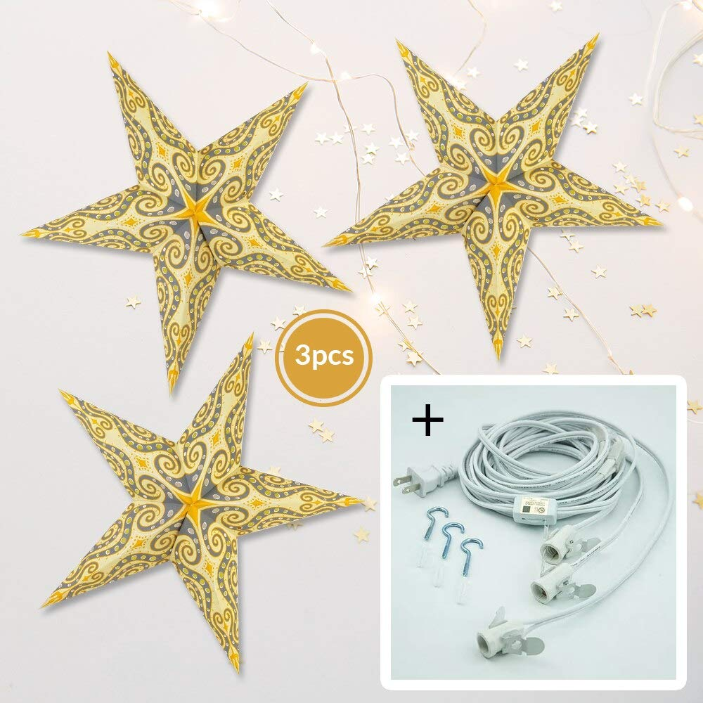 Luna Bazaar Light Yellow Mouri Screen 24 Inch Paper Star Lanterns and Lighting - for Home Decor, Parties, and Holiday Decorations