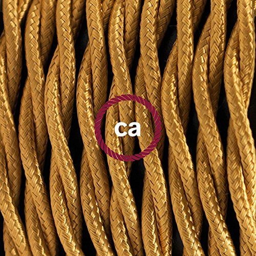 3x0.75 3 Meters by Creative-Cables Twisted Electric Cable covered by Rayon solid colour fabric TM05 Gold
