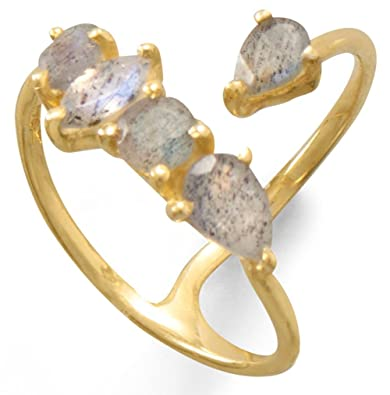 Gold Plated Labradorite Unique Wrap Ring 925 Sterling Silver