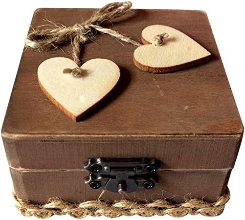 ounona caja anillo de doble amor corazón de madera rústico, compromiso, boda anillo portador Square Box Holder: Amazon.es: Hogar