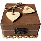 OUNONA Wooden Double Love Heart Ring Box Rustic Engagement Wedding Ring Bearer Square Box Holder