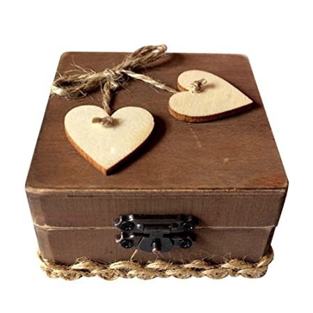 Ounona Wooden Double Love Heart Ring Box Rustic Engagement Wedding
