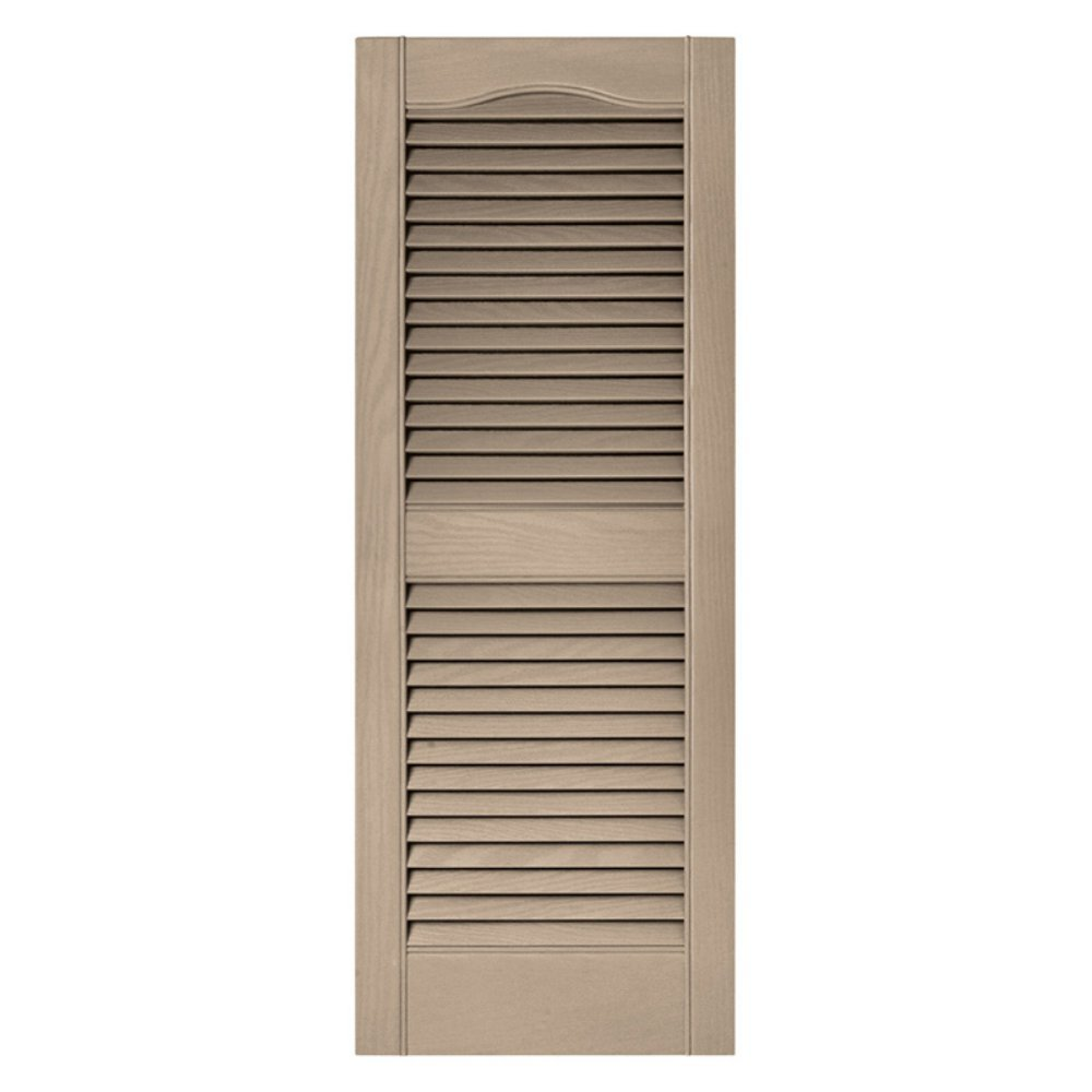 15 in. x 72 in. Louvered Vinyl Exterior Shutters Pair in #023 Wicker