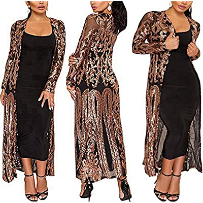 PROMLINK Women's Sequins Open Front Long Sleeve Club Cardigan for Evening Prom at Women's Clothing store