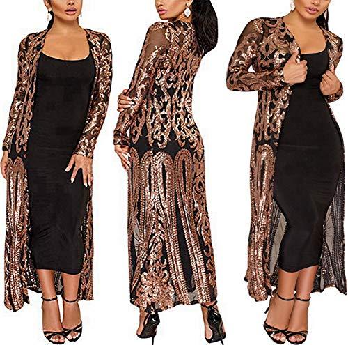 PROMLINK Sequin Cardigans for Women Open Front Sparkle Jacket Coat(L,Black)