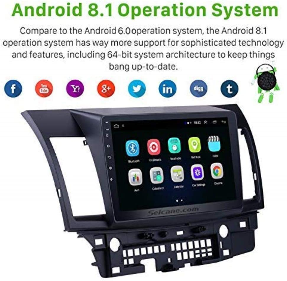 Android 8.110.1 Inch HD Touchscreen GPS Navigation Radio for Mitsubishi Lancer-ex 2008-2015 with FM Bluetooth WiFi USB 1080P