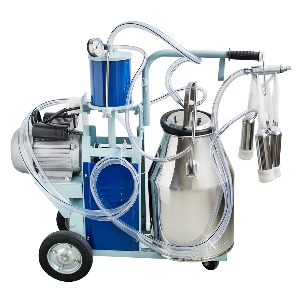 Portable Electric Milking Machine Milker Cows Stainless Steel 25L Bucket Barrel