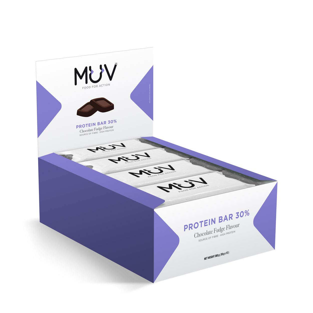 Muv Food For Action - Barras de proteína sabor ganache de chocolate, 12 unidades de 30 g
