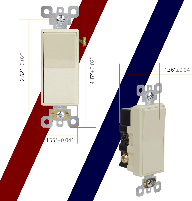 Ada - Interruptor de pared de 15 amperios, 120 V, 4 vías, autoaterrizaje, grado residencial, interruptor de pared de encendido/apagado eléctrico, listado UL, lado y parte trasera con cable: Amazon.es: Bricolaje y herramientas