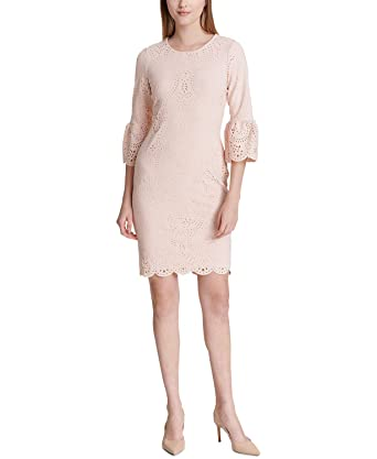 66a40439 Calvin Klein Laser-Cut Bell-Sleeve Sheath Dress at Amazon Women's ...