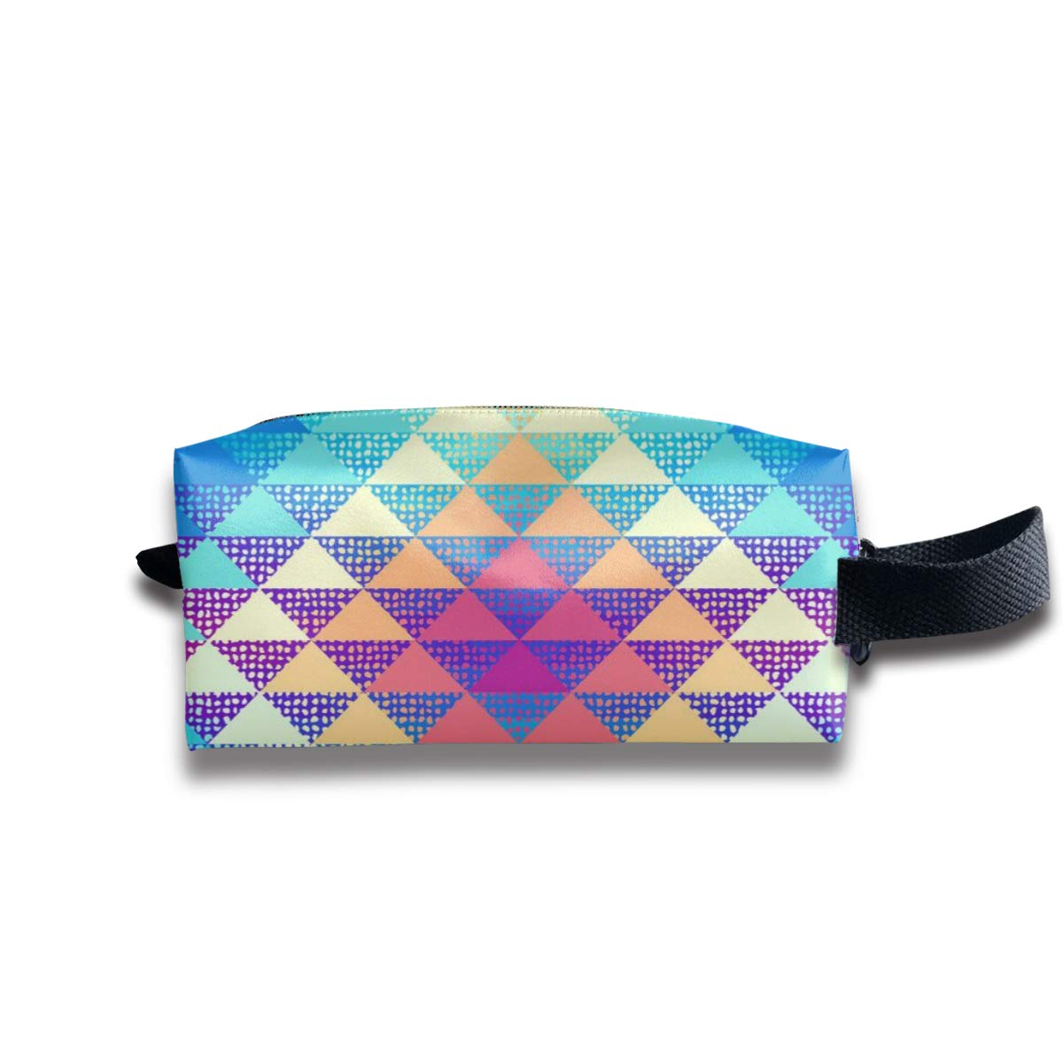A Triangles_476 Canvas Makeup Bag Pouch Purse Handbag Organizer with Zipper
