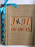 Rustic Wedding Photo Album - Burlap Wedding Photo Album w/Monogram, Woodland Wedding (Custom Colors Available)