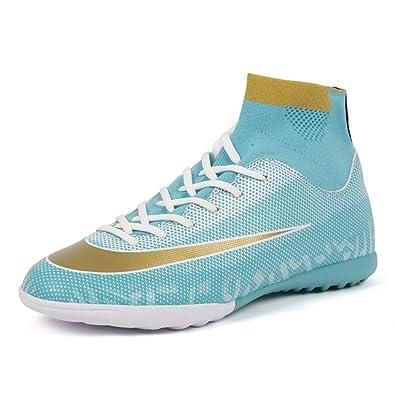 c692bbfad348de Zhenzu Soccer Cleats Turf Indoor Football Shoes High Top Sock Shock Buffer  Outdoor for Toddler Training