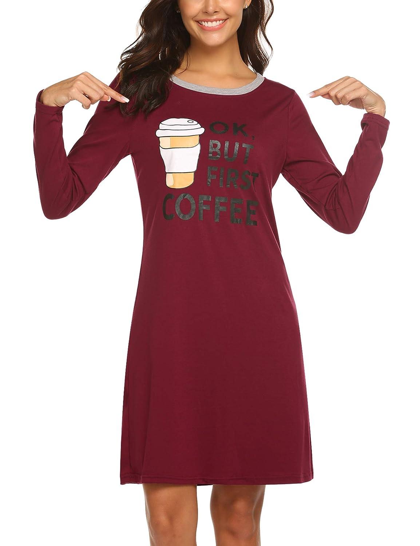 d6638ed92 HOTOUCH Sleepwear Women s Nightgown Cotton Sleep Shirt Printed Long Sleeve  Scoopneck Sleep Tee Nightshirt S-XXL PXK000291