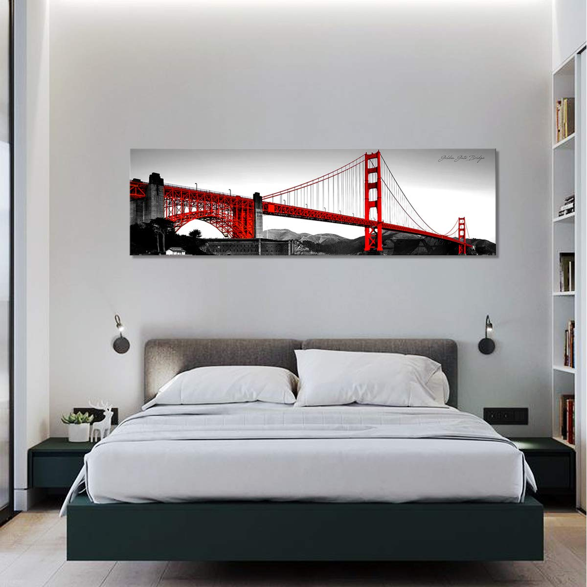 Wall Decor Sunfrower Golden Gate Bridge Poster Painting Wall Art Bedroom Decor B W Red Canvas Prints San Francisco City Skyline Building Poster Landscape Photo Picture Modern Artwork 12 X 36 Inch No