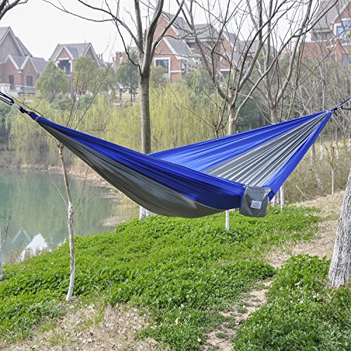 OuterEQ Portable Parachute Nylon Fabric Travel Camping Hammock Blue/grey