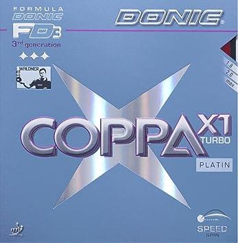 Tenis de mesa goma Donic Coppa Turbo, 2.00 mm Platin x1, Negro