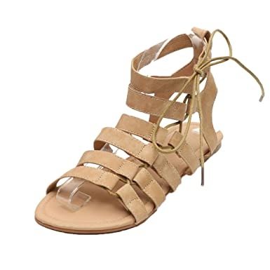 efc5571d17a10 Amazon.com: Corriee Women Roman Style Gladiator Sandals Peep Toe Ankle  Strap Flat Shoes Girls Summer Shoes US:5- US:9: Clothing