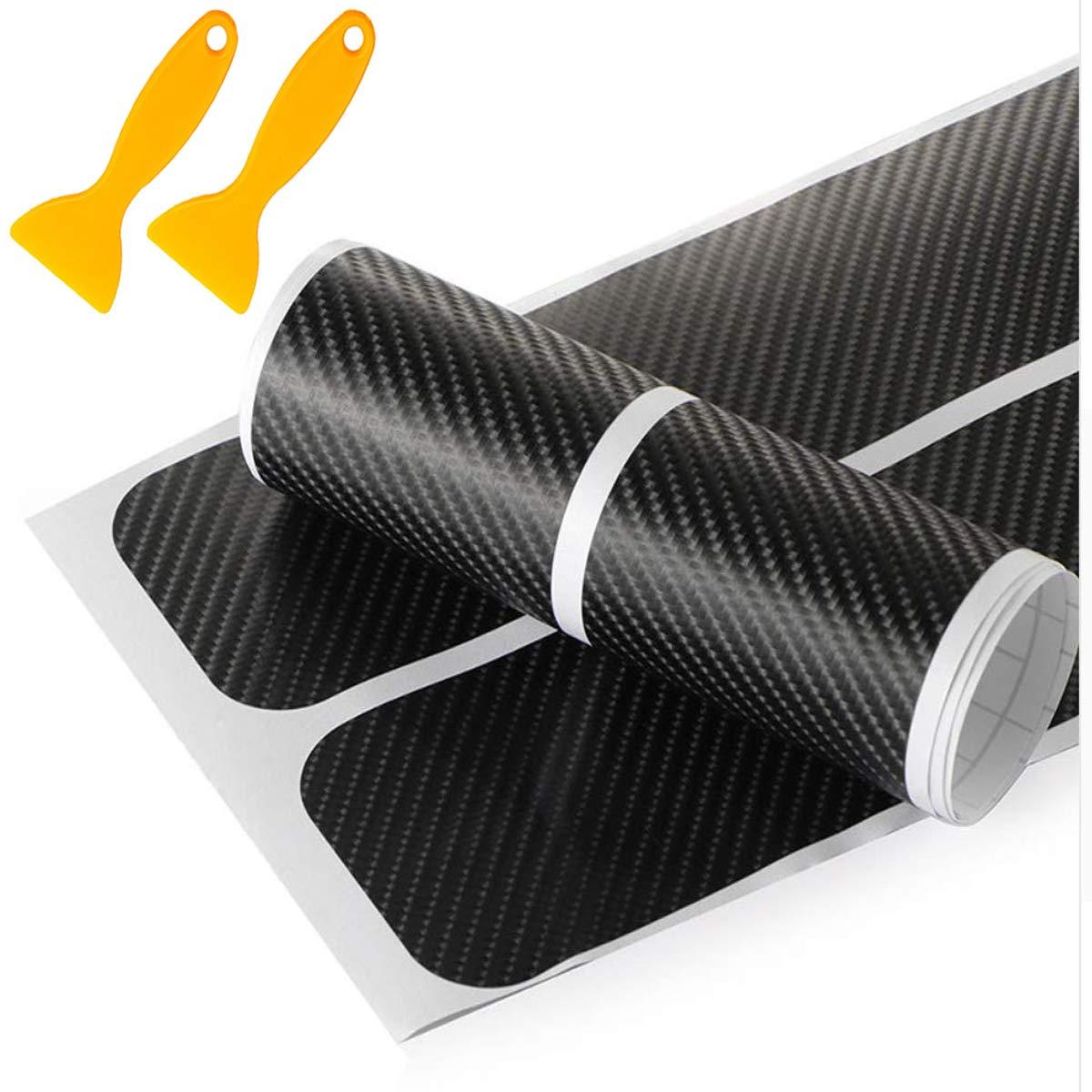 Mengger Autocollant de Seuil Porte Voiture 8 pi/èces Universel 3D Fibre Carbone P/édale en Scuff Scratch R/ésistant Autocollant Protection pour plaque Seuil Porte de Voiture