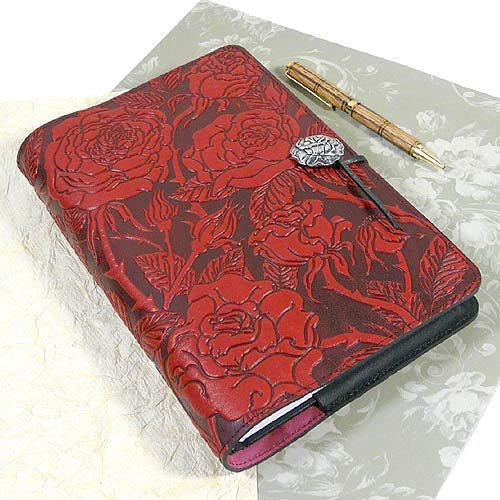 Wild Red Rose Embossed Leather Writing Journal, American Made, 6 x 9-inch + Refillable Hardbound Insert Book by Modern Artisans (Image #3)