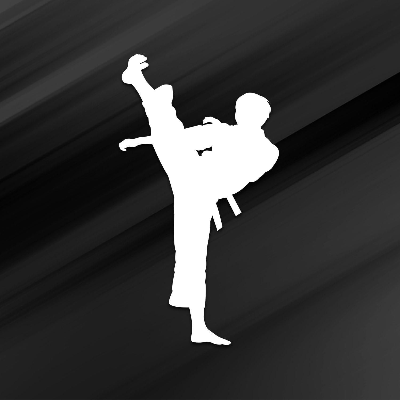 D023-W Premium Quality Vincit Veritas Karate Kick White Vinyl Decal Sticker 5.5-Inches
