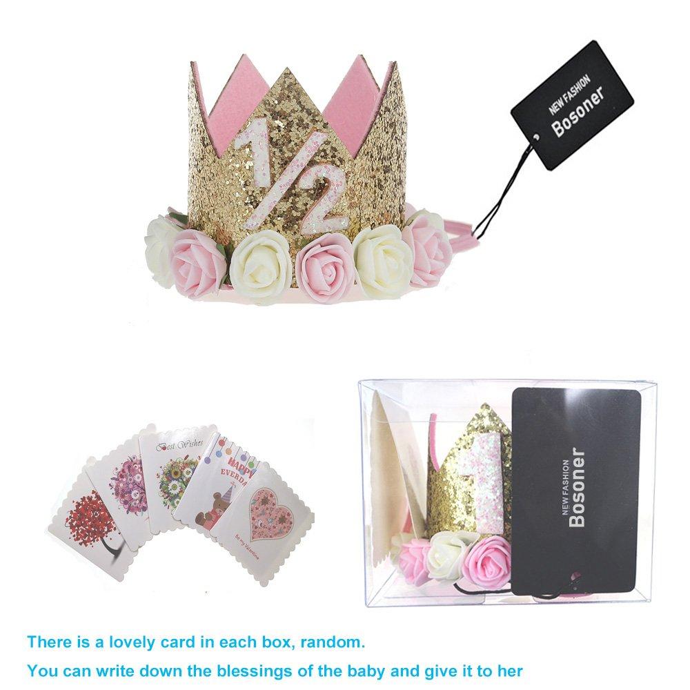 Bosoner Baby Princess Crown 1 Tiara Kids First Birthday Hat Sparkle Gold Flower Design Clothing