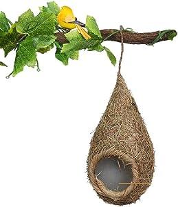 Handwoven Bird Nest/Wood Birdhouse (Set of 2)
